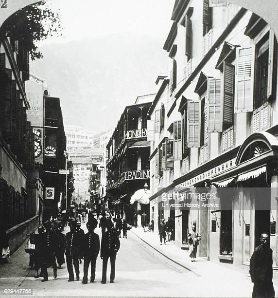 Busy D'Aguilar Street Hong Kong 1896