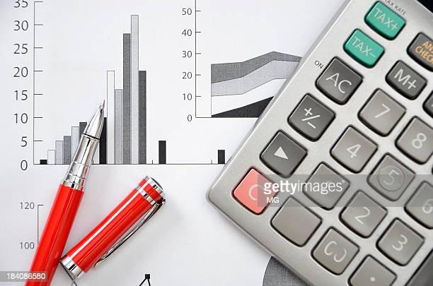 Stylo et calculateur de graphismes financier