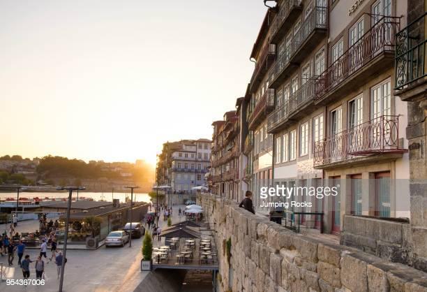 Busy Douro River waterfront in Barrio La Ribeira Porto Porto Region Portugal