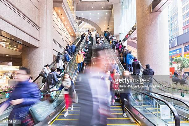 Busy escalators, Hong Kong, China