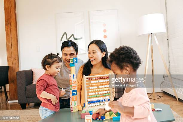 Busy family in a living room
