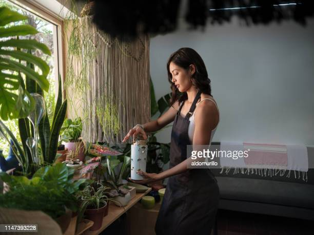 busy female employee working with plants in a garden shop - medium shot stock pictures, royalty-free photos & images