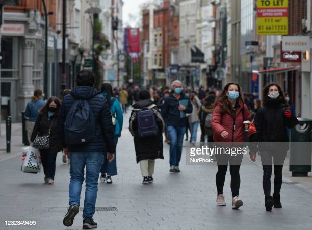 Busy Grafton Street in Dublin city center, during the COVID-19 lockdown. On Friday, 16 April 2021, in Dublin, Ireland.