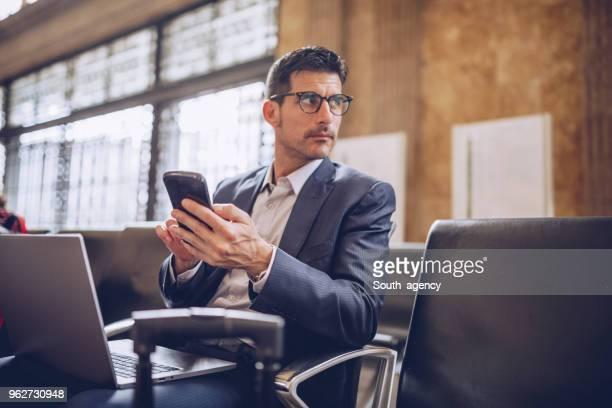 Busy handsome businessman