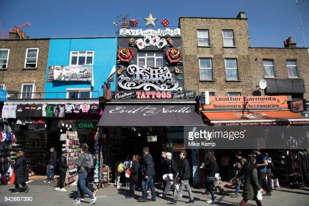 Busy hang out for young Londoners and tourists in Camden Town, London, England, United Kingdom. Camden Town is famed for its market, warren of...