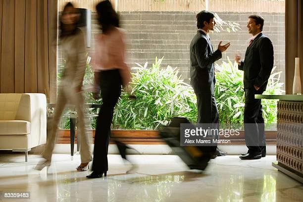 busy hotel lobby