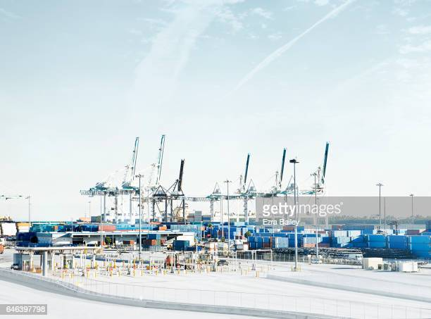 Busy Industrial container port with cranes