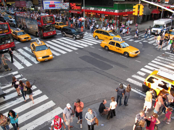 Busy intersection at Times Square, New York City