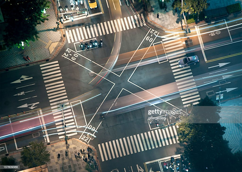 Busy Junction at Night from Above : Stock Photo
