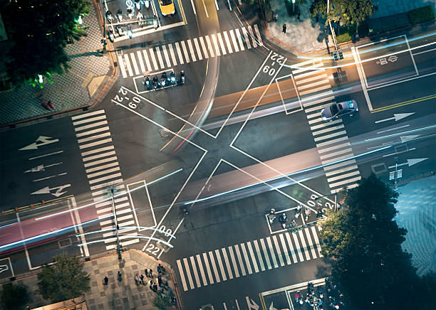 Busy Junction At Night From Above Wall Art