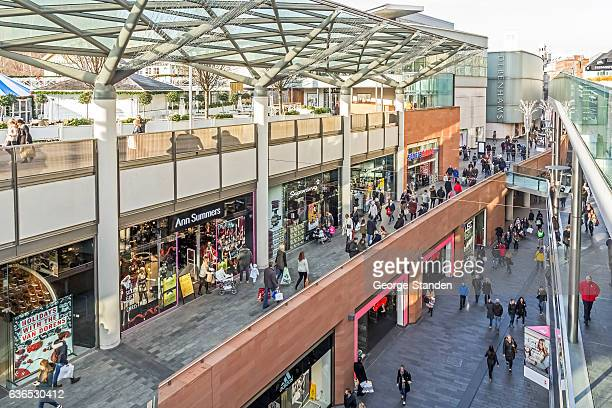 busy liverpool shopping streets - shopping centre stock photos and pictures