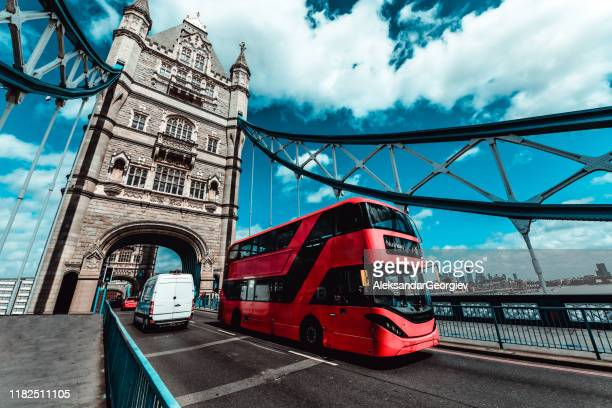 busy london tower bridge - cockney stock pictures, royalty-free photos & images