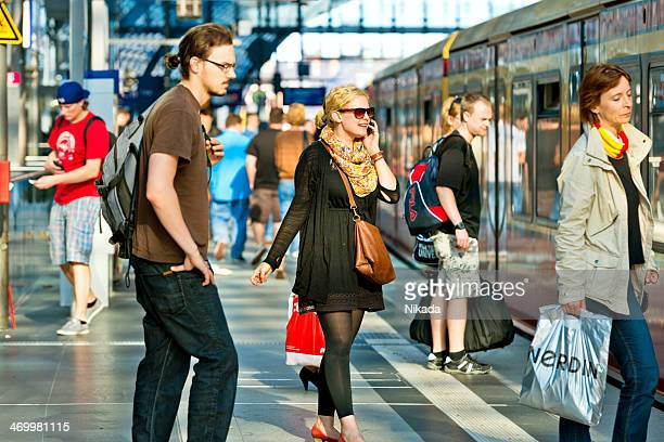busy main train station (hauptbahnhof) in berlin, germany - editorial stock pictures, royalty-free photos & images