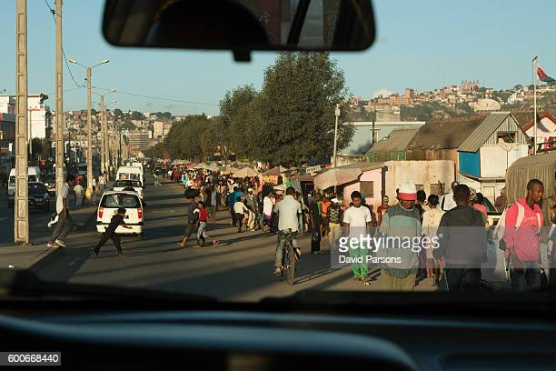Busy Malagasy people Antananarivo Madagascar street traffic