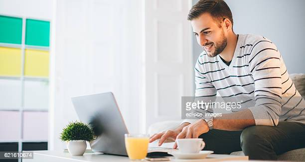 Busy man working from home