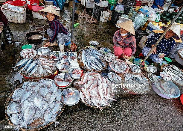 Busy market place in Hue Vietnam.