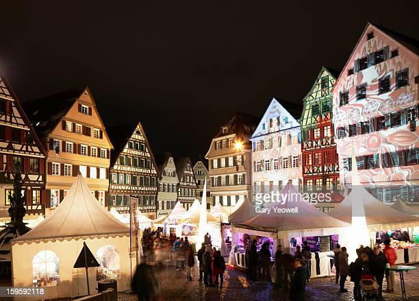 Busy Market Square of Tübingen old town