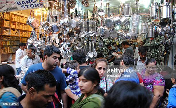 Busy markets on the eve of Diwali festival, on November 11, 2012 in Noida, India.