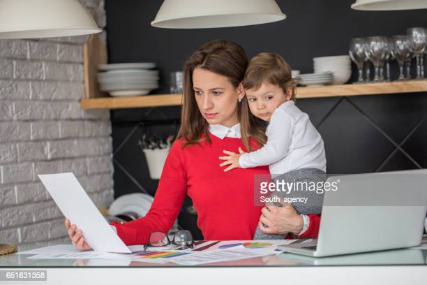 Busy modern mother