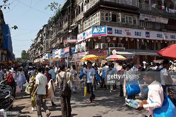 Busy Mumbai street corner at Crawford Market
