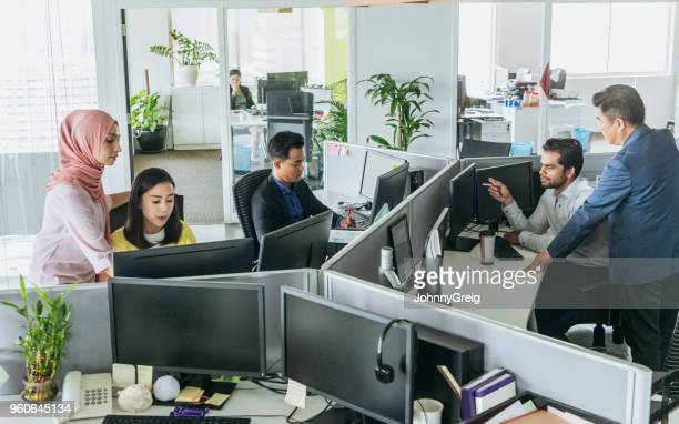 busy office with men and women working at desks - office cubicle stock pictures, royalty-free photos & images