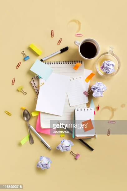 busy office working life table top still life. - organised group stock-fotos und bilder