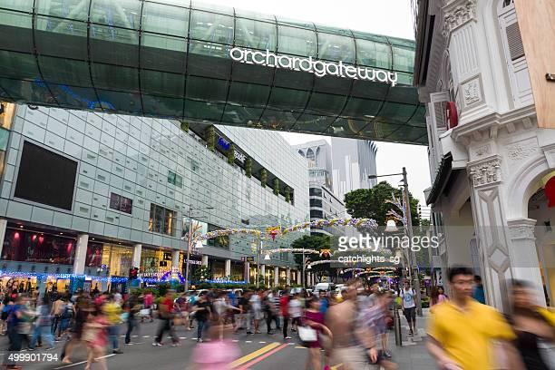 Geschäftige Orchard Road in der Weihnachtszeit Weihnachtszeit
