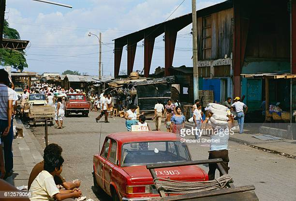 A busy outdoor market in Managua Nicaragua's capital city Rising to power within the Nicaraguan government in the 1980s the leftwing Sandinista...