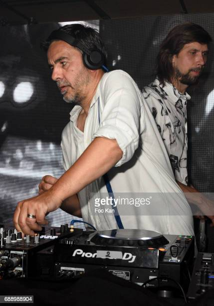 Busy P aka Pedro Winter and DJ Laurent Garnier perform together during the Villa Schweppes Party during the 70th annual Cannes Film Festival at on...
