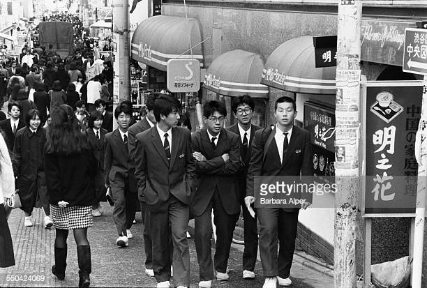 A busy pedestrianised street in the Harajuku district of Tokyo Japan March 1988