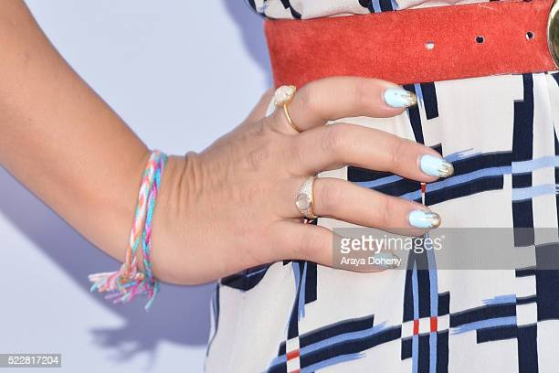 Busy Philipps ring and nail detail attends the Norma Jean Gala benefiting Hollygrove at Taglyan Complex on April 20 2016 in Los Angeles California