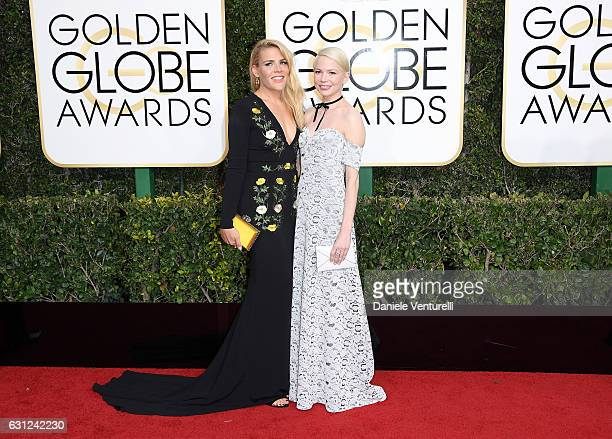 Busy Phillips and Michelle Williams attend the 74th Annual Golden Globe Awards at The Beverly Hilton Hotel on January 8 2017 in Beverly Hills...