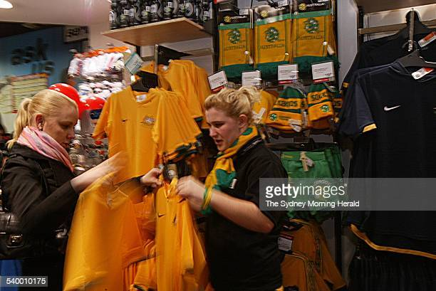 Busy Rebel Sports Store in Pitt Street where sales of Australian socceroos supporters' gear skyrocketed after the team's 3 to 1 win against Japan in...