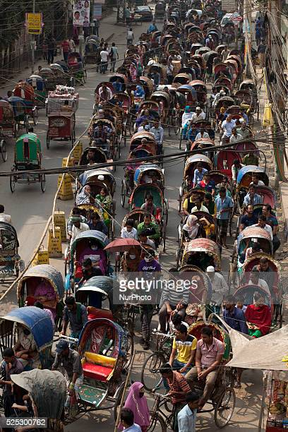 A busy Rickshaw way in DhakaBangladesh Rickshaw of Dhaka recorded at Guinness World Records 2015 making heading quotmost cycle rickshaw in one...