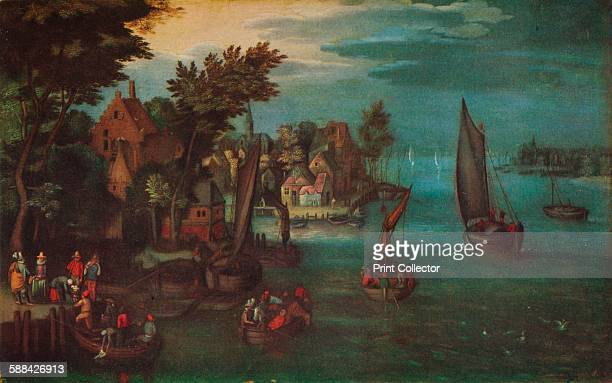A Busy River Scene with Dutch Vessels and a Ferry' circa 1605 Painting held in the National Maritime Museum London From The Studio Volume 96 Artist...
