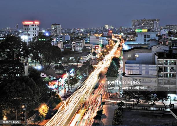 Busy road, arterial road at night, Ho Chi Minh City, Saigon, Vietnam