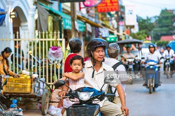 Busy road in Siem Reap, Cambodia