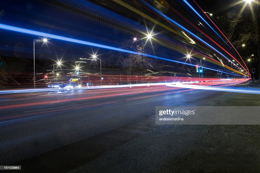 Busy Road Junction at Night-See lightbox below for related images : Stock Photo