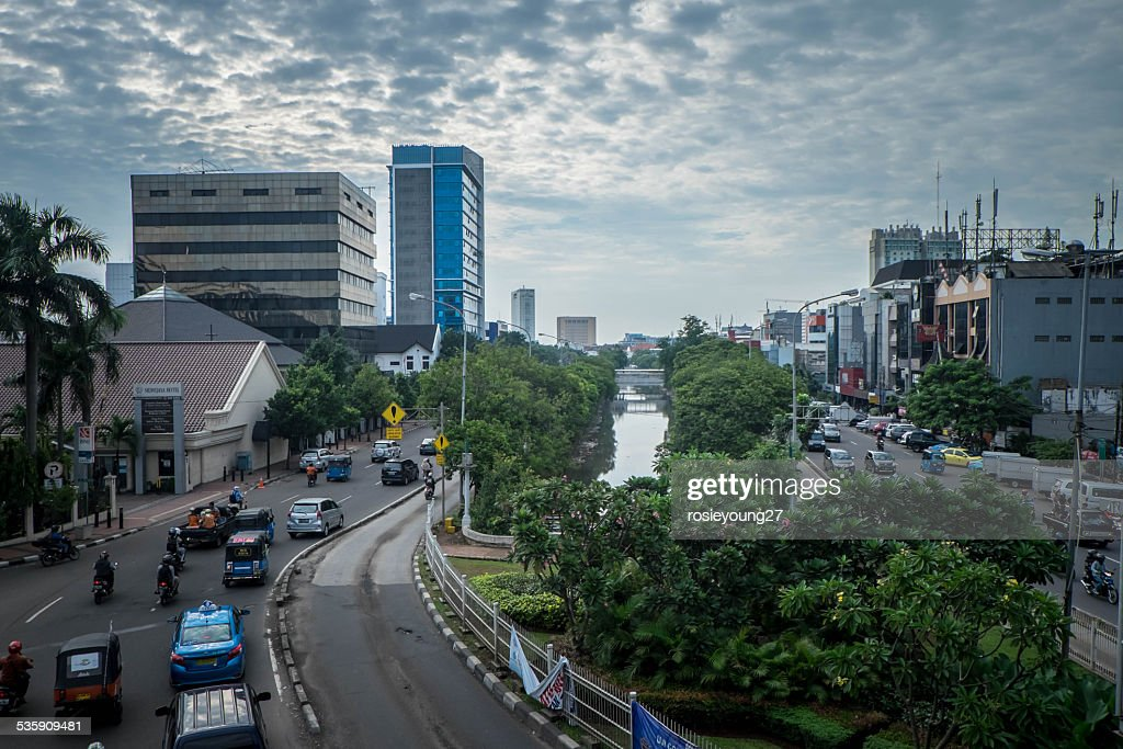 Busy roads in Jakarta : Stock Photo