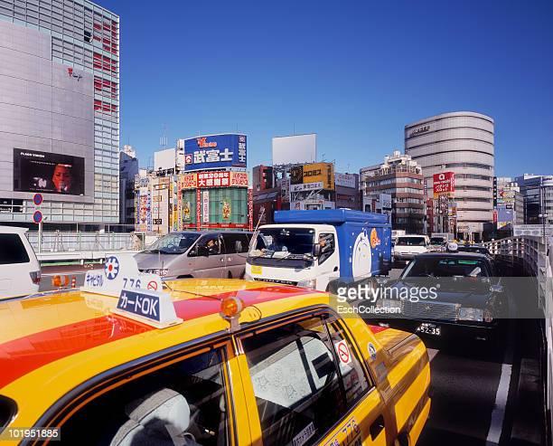 Busy rush hour traffic at the Shinjuku, Tokyo.