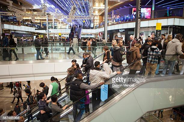 A busy Saturday at the new Westfield Stratford City mall which has seen huge crowds of customers flocking to it despite the ongoing recerssion in the...