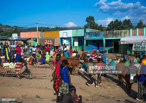 Busy saturday market, omo valley, jinka, Ethiopia on March 19, 2016 in Jinka, Ethiopia.