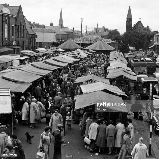Busy scene at Blyth market place 3rd August 1959