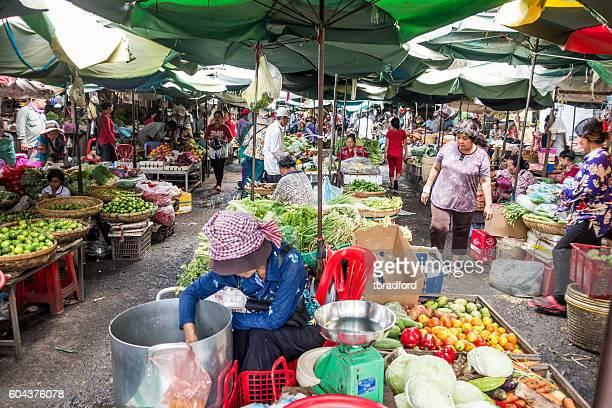 Busy Scene In Kandal Market In Phnom Penh, Cambodia