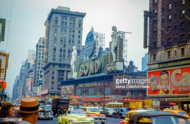 Busy scene on the east side of Broadway between 44th 45th Streets in Times Square New York City New York 1949 The marquee for the Loew's State...