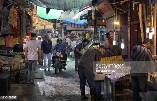 busy shopping day at havra street in izmir. - emreturanphoto stock pictures, royalty-free photos & images