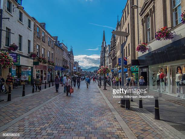 Busy shopping discrict, Inverness, Scotland.