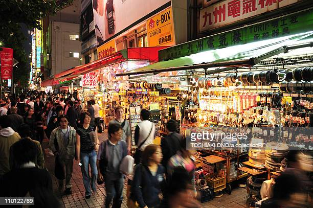 Busy Shopping Street at Night