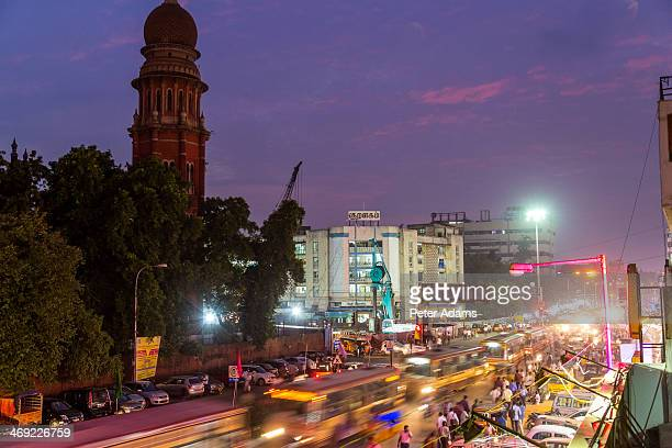 Busy street at dusk outside High Court, Chennai