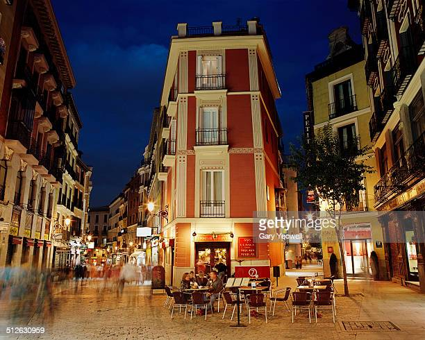 busy street by plaza mayor in madrid - madrid stock pictures, royalty-free photos & images